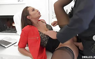 Bella Rolland is wearing softcore underwear and tights while railing a rock stiff meat stick